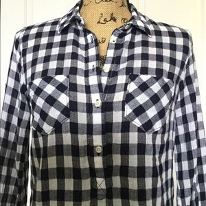 Merona Blue White Plaid Woven Shirt